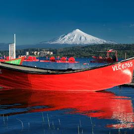 Red and Green boats! by Itamar Campos - Transportation Boats ( boats, volcano, patagonia, lake, chile )