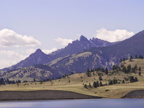 """Photo: Here is a view of the head of the Sleeping Giant from the Missouri River (Lower Holter Lake). From here, you can see why they call it """"Beartooth Mountain""""."""