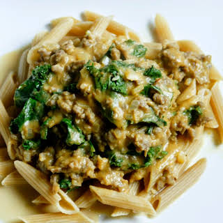Pasta with Pumpkin Goat Cheese Sauce.