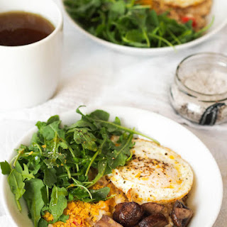 Savory Oatmeal with Sautéed Mushrooms, Arugula and Fried Egg