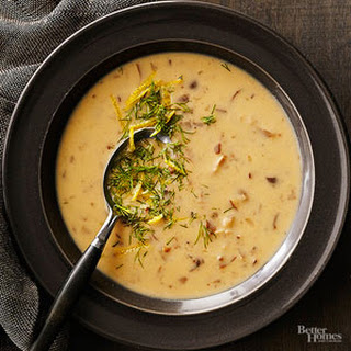 Mushroom Bisque with Dill and Lemon Gremolata.