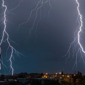 A thunderstorm over the city by Martin Namesny - Uncategorized All Uncategorized ( lightning, nighttime, lightnings, night, storms, storm, night shot )