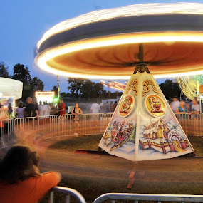 Festival amusment park ride at night by Martin Wheeler - Abstract Light Painting ( amusement park parks ride rides night light paint blur fair sunset,  )