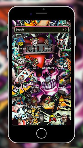 Rock Skull Graffiti Theme & Lock Screen & Call  screenshots 2