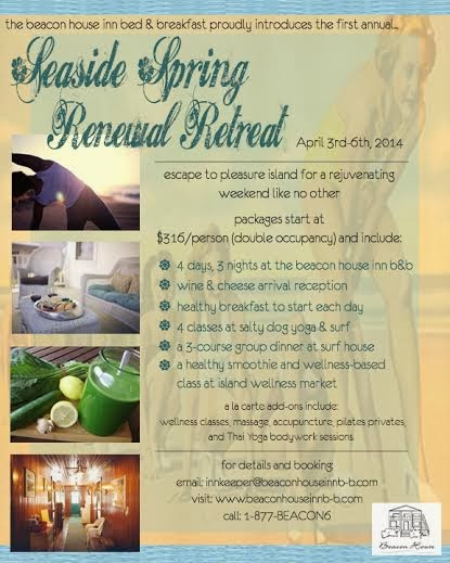 Photo: We are excited to announce our first Beacon House Inn Bed & Breakfast Seaside Spring Renewal Retreat!  Rejuvenate at the beach with us!