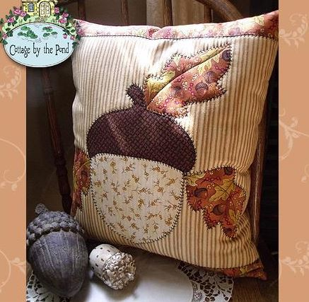 Pillow with Quilted Acorn