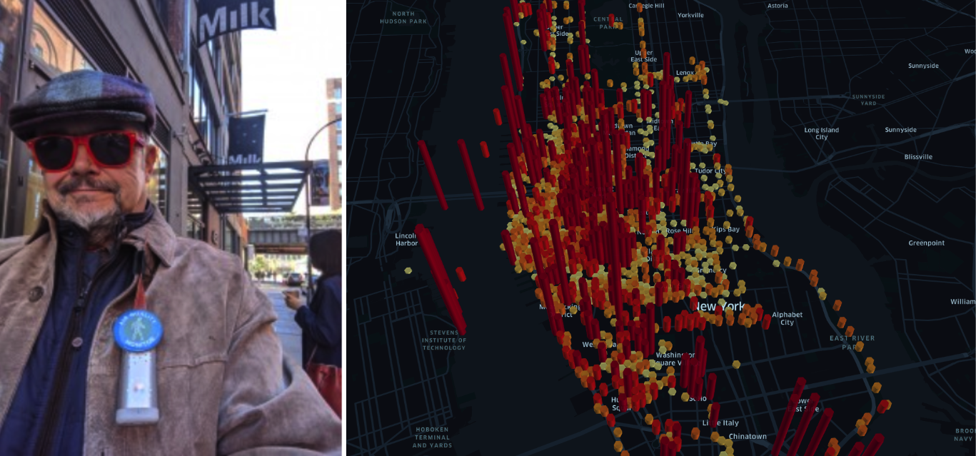 Left: CHEKPEDS Volunteers hit the streets with their Flows  Right: Average participant exposures during the project mapped