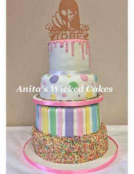 Candy drip wedding cake
