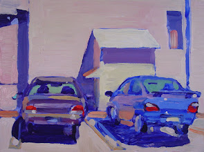 Photo: Two Cars at the Campanil, Antioch, oil painting by Nancy Roberts, copyright 2014. Private collection.