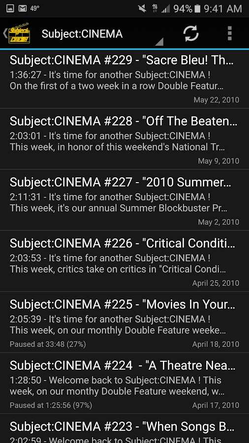 Subject:CINEMA- screenshot