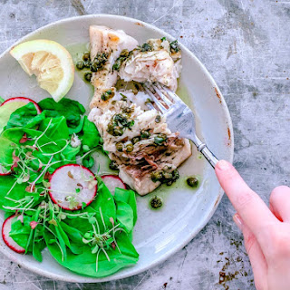 Grilled Swordfish With Dill and Caper Butter Sauce.