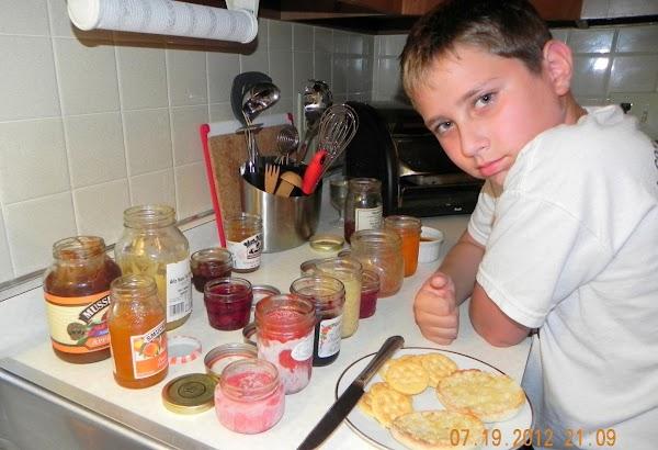 Nephew Brendan taste testing jams, jellies, preserves and marmalades. He and his brother Noah...