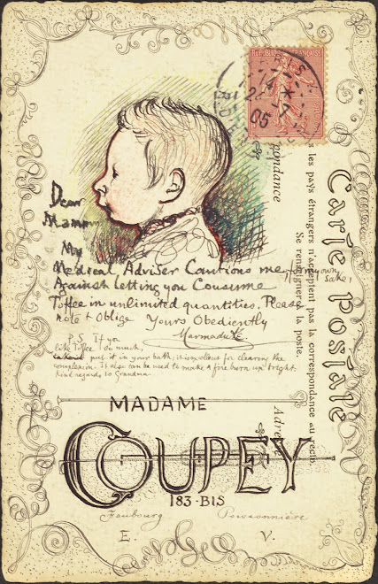 <p> <strong>L&eacute;on Coupey<br /> To Mme Coupey (Paris)</strong><br /> Ink &amp; crayon on card<br /> 5 &frac12;&quot; x 3 &frac12;&quot;<br /> 1905</p> <p> Collection Annik Coupey-Smith, Eastbourne, UK<br /> Set 7A.2 &nbsp;</p>