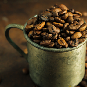 Coffee beans by Vrinda Mahesh - Food & Drink Ingredients ( ingredients, rustic cup, metal cup, vintage, coffee beans, horizontal, food, still life, coffee, rustic )