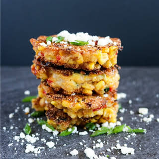 Corn, Zucchini and Red Pepper Cakes.