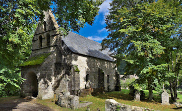 Photo: Prieure de Port-Dieu, Correze. This church once stood on a hill above a small village. The village is now under the waters of a reservoir, and the church is near the shore.