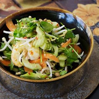 Prawns, Edamame Beans And Fresh Herb Salad.