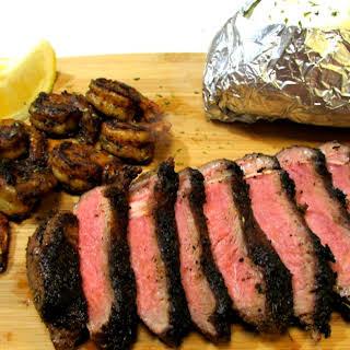 Cajun Blackened Surf and Turf - Steak and Shrimp Dinner.