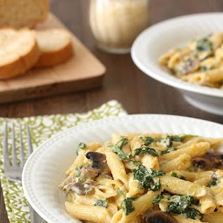 Butternut Squash, Spinach, and Mushroom Penne Alfredo.