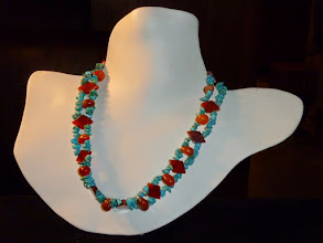 Photo: <BEREHYNYA> {Great Goddess Protectress} unique one-of-a-kind statement jewellery by Luba Bilash ART & ADORNMENT  Carnelian, turquoise, sterling silver SOLD/ПРОДАНИЙ