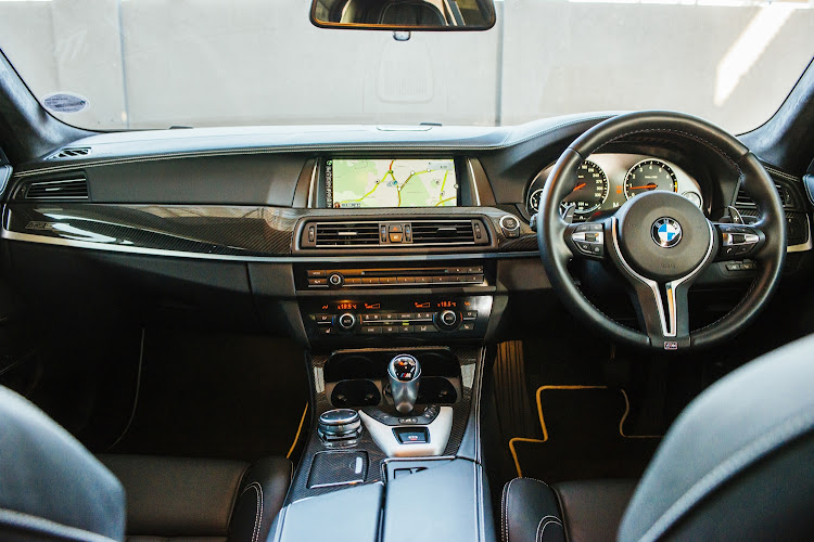The interior of the BMW F10 M5.
