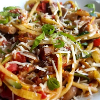 Zucchini and Summer Squash Pasta with Balsamic Mushrooms, Onions and Tomatoes Recipe