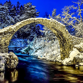 Winter at Carrbridge!  by Gordon Bain - Buildings & Architecture Bridges & Suspended Structures ( scotland, minus 6 !, winter, 6am, carrbridge )