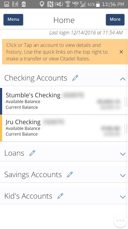 Citadel Mobile Banking- screenshot