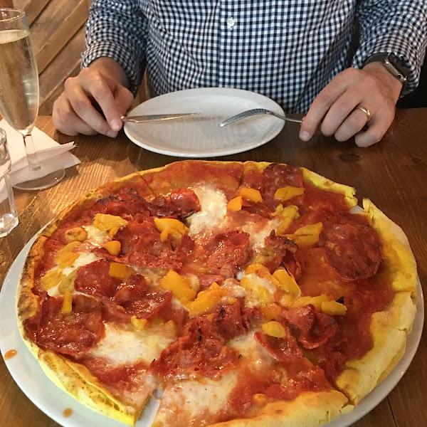 Pepperoni pizza on turmeric gf dough. Delicious!