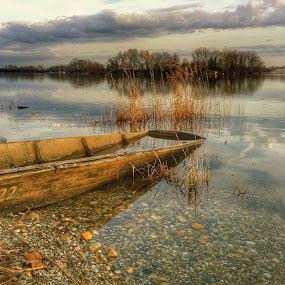 On the river Drava  by Dunja Milosic Odobasic - Transportation Boats