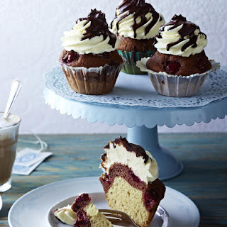 Cherry Vanilla Chocolate Cupcakes with Cream Cheese Frosting.