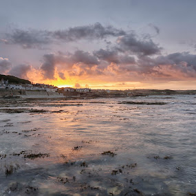Marazion Cornwall  by Helen Quirke  - Landscapes Waterscapes ( cornwall, marazion, marazioncornwall, beach, sunset, water )