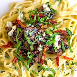 Steak Gorgonzola with Spinach Alfredo.