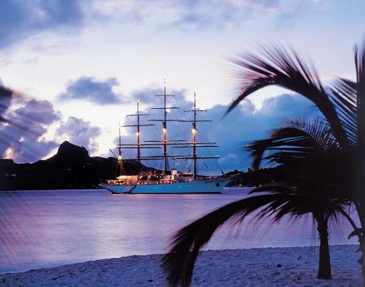 Sea-Cloud-at-twilight.jpg - Sea Cloud moored in a Caribbean bay at twilight.