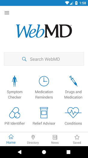 Screenshot 0 for WebMD's Android app'