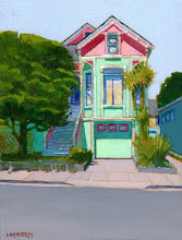 """Photo: Pink and Green Italianate, acrylic on wood 8"""" x 6"""", by Nancy Roberts, copyright 2015. Private collection."""
