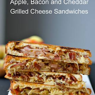 Apple, Bacon and Cheddar Grilled Cheese Sandwiches with Caramelized Onions.