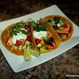 Grilled Salmon Tacos & Cucumber Avocado Salsa