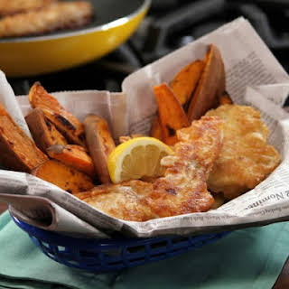 Beer Battered Fish and Roasted Fries.