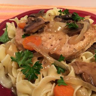 Slow Cooker Boneless Pork Chops with Creamy Mushrooms, 8 WW PointsPlus.