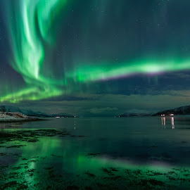 Aurora over sea by Benny Høynes - Landscapes Waterscapes ( aurora borealis, northern lights, seascape, norway, stars, colors )