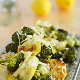 Garlic Lemon Roasted Cauliflower and Broccoli