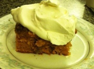 mix pumpkin,evaporated milk,3 eggs,sugar,salt,and pumpkin pie spice together. Add cake mix and 1/2 cup...