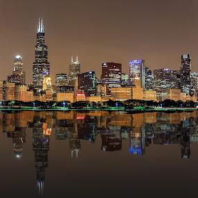Chicago Reflections by Dmitriy Andreyev - City,  Street & Park  Skylines (  )