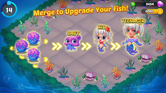 Merge Mermaids-design home&create magic fish life MOD (Purchase) 3