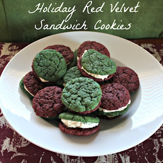 Holiday Red Velvet Sandwich Cookies With Cream Cheese Frosting.