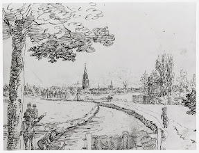 Photo: 1830 Op het jaagpad aan de westelijke oever, rechts de theekoepel van het kasteel de Emer..