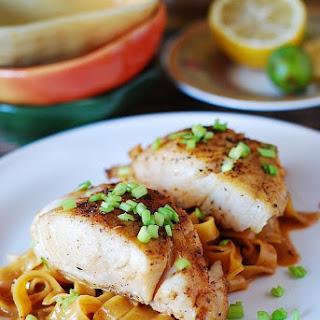Asian Fish and Peanut Sauce Noodles Recipe