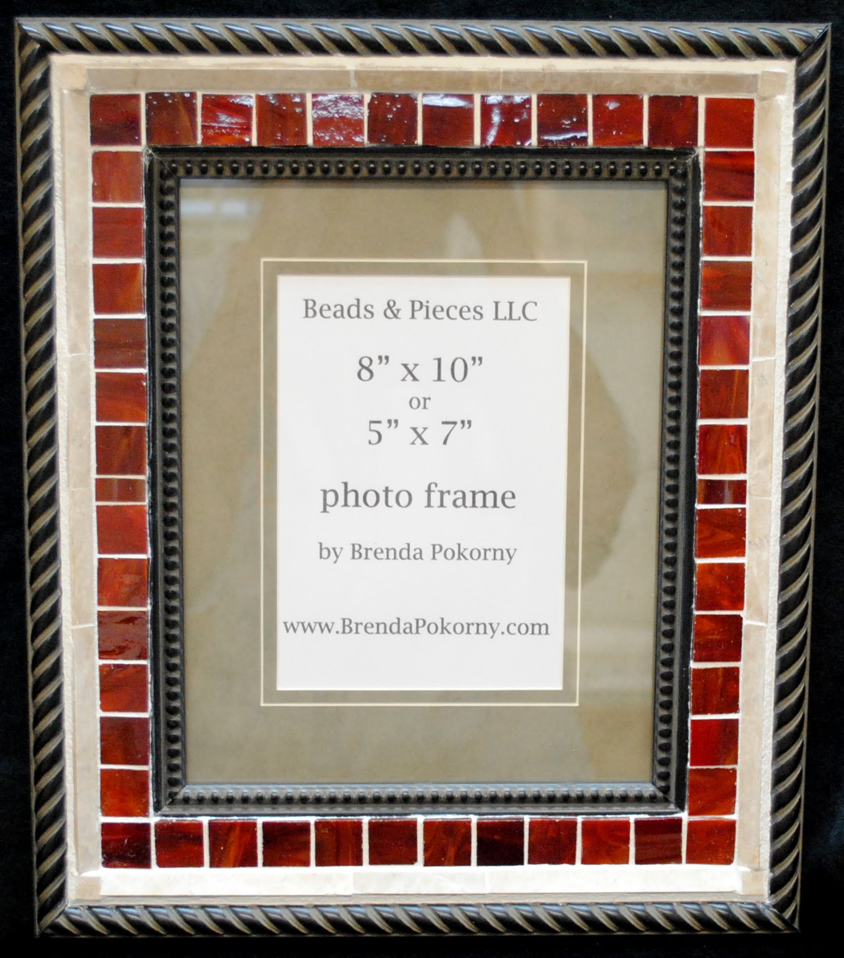 "Deep Red & Sandstone 5"" x 7"" or 8"" x 10"" Mosaic Wall Frame MOF1447"