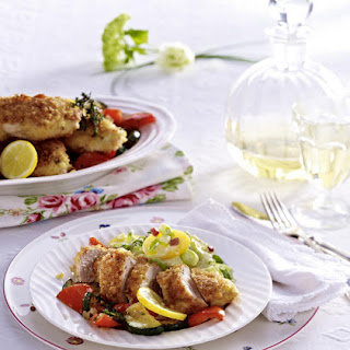 Panko Crusted Chicken with Warm Vegetable Salad